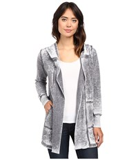 Allen Allen Open Hooded Cardigan Deep Grey Women's Sweater Black