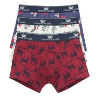 Joules Crown Christmas Trunks Pack Of 3 Navy White Red