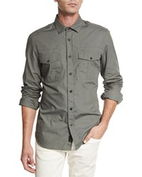 Belstaff Steven Long Sleeve Military Style Shirt Agave