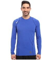 Nike Pro Warm Long Sleeve Training Top Game Royal Deep Royal Blue White Men's Clothing