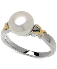 Macy's Cultured Freshwater Pearl 9Mm And Diamond Accent Ring In 14K Gold And Sterling Silver