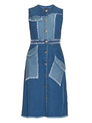 House Of Holland Patchwork Sleeveless Denim Dress