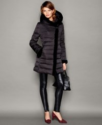 The Fur Vault Beaver Fur Trim Puffer Coat Black