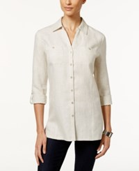 Jm Collection Petite Linen Button Front Tunic Shirt Only At Macy's Flax