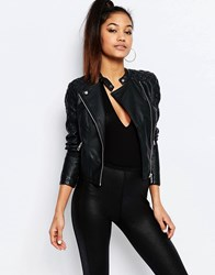 Ariana Grande For Lipsy Faux Leather Biker Jacket With Quilted Sleeves Black