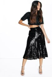 Boohoo Heavily Embellished Sequin Culottes Black