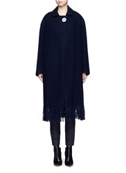 Victoria Beckham Mother Of Pearl Button Wool Cashmere Mens Coat Blue