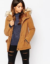 Only Parka With Faux Fur Hood Goldenbrown