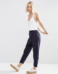 Asos Patch Pocket Peg Trousers Navy