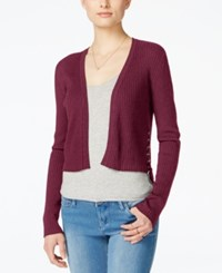 Material Girl Juniors' Cropped Lace Up Shrug Only At Macy's Zinfandel