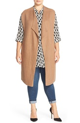 Nic Zoe 'Harmony' Long Cotton Blend Rib Knit Vest Plus Size Saddle Heather
