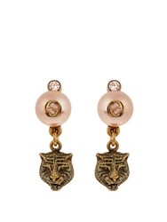 Gucci Pearl Effect Embellished Tiger Earrings Light Pink
