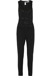 Kain Label Carolyn Printed Cotton And Modal Blend Jersey Jumpsuit Black