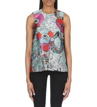 Mary Katrantzou Eva Sleeveless Printed Top Poppies Mnt