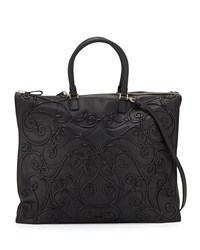 Valentino Swirl Piping Large Leather Tote Bag Black