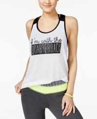 Material Girl Active Juniors' Mesh Back Graphic Tank Top Only At Macy's Bright White
