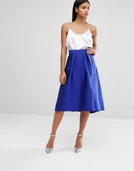 Oasis Satin Full Midi Skirt Blue