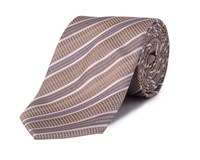 Double Two Stripe Polyester Tie Beige