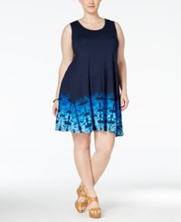 Styleandco. Style And Co. Plus Size Printed Hem Sleeveless Swing Dress Only At Macy's Shibori Fade