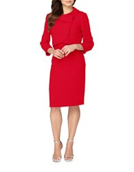 Tahari By Arthur S. Levine Ribbon Trimmed Jacket And Sleeveless Dress Cherry Red