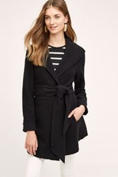 Anthropologie Wrapped Wool Sweater Coat Black