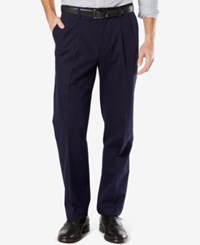 Dockers Men's Big And Tall Signature Classic Fit Khaki Pleated Stretch Pants Navy