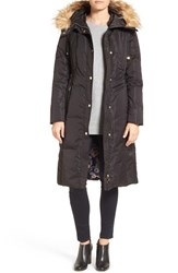 Eliza J Women's Faux Fur Trim Hooded Long Down Coat