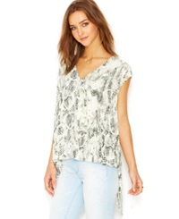 Rachel Rachel Roy Cap Sleeve V Neck Printed Top