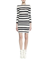 Alexander Mcqueen Long Sleeve Striped Lace Bandage Dress