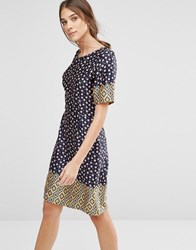 Trollied Dolly Shifty Sista Ditsy Floral Print Dress Navy