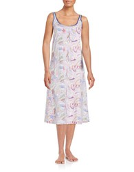 Lord And Taylor Plus Floral Nightgown Paisley White