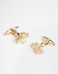 Designsix Cross Cufflinks In Gold Gold