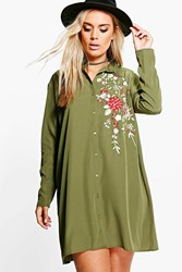 Boohoo Carey Embroidered Shirt Dress Khaki