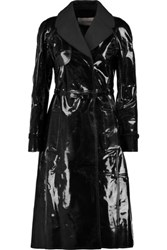 Valentino Belted Faux Patent Leather Trench Coat Black
