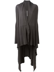 Rick Owens Long Square Draped Cardigan Grey