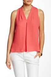 Vince Camuto Pleat Front V Neck Blouse Petite Red