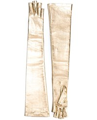 Gucci Long Metallic Leather Gloves Grey