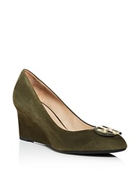 Tory Burch Luna Suede Mid Heel Wedge Pumps Forest Moss Gold