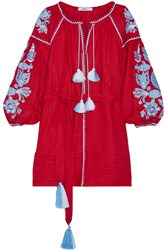 March11 Flower Pixel Embroidered Linen Mini Dress Claret Red