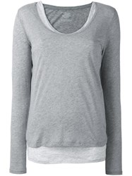 Majestic Filatures Layered Scoop Neck T Shirt Grey