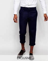 Reclaimed Vintage Cropped Trousers In Relaxed Fit Navy