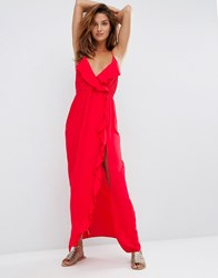 Asos Wrap Front Frill Maxi Beach Dress Red
