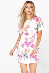 Boohoo Floral Cap Sleeve Shift Dress Multi