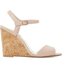 Dune Montecarlo Leather Cork Effect Wedge Sandals Blush Leather