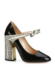 Gucci Nimue Bow Patent Leather And Snakeskin Mary Jane Block Heel Pumps Black