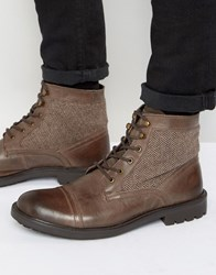 Dune Military Boots With Tweed Detail Brown