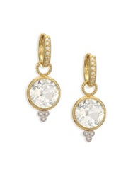 Jude Frances Provence White Topaz Diamond And 18K Yellow Gold Round Earring Charms