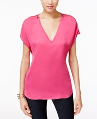 Inc International Concepts Short Sleeve Zip Shoulder Top Only At Macy's Intense Pink