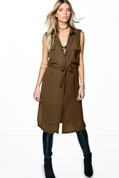 Boohoo Sleeveless Tie Waist Long Shirt Khaki