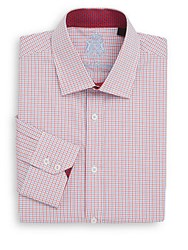 English Laundry Regular Fit Checked Cotton Dress Shirt Red